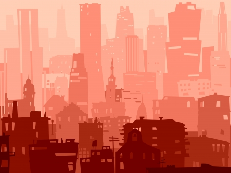 cityscape silhouette: Vector abstract background of big city with roofs, windows and skyscrapers