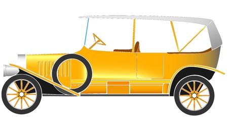 Simple vector illustration of some old vintage typical yellow car of the beginning of the 20th century  Vector