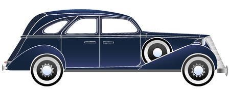 Simple vector illustration of some old vintage typical blue car of the beginning of the 20th century  Vector
