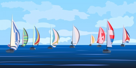 barca a vela: Vector sfondo illustrazione di regata a vela del fumetto con molti yacht all'orizzonte in tonalit� blu