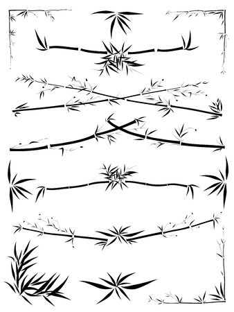 bamboo frame: Set of border and corner asymmetric decoration from bamboo in the Asian style drawn by ink  Illustration