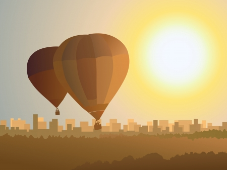 depart: Simple vector illustration of air balloons over the city in sunset