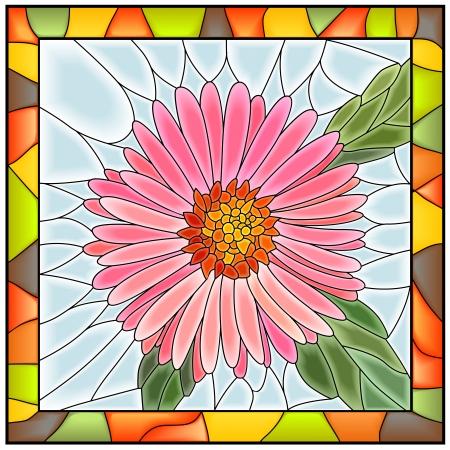 vetrate artistiche: Illustrazione vettoriale di finestra fiore rosa aster in vetro colorato con telaio Vettoriali