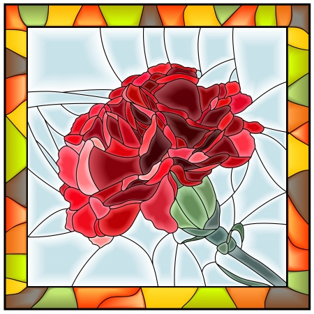 Vector illustration of flower red carnation stained glass window with frame