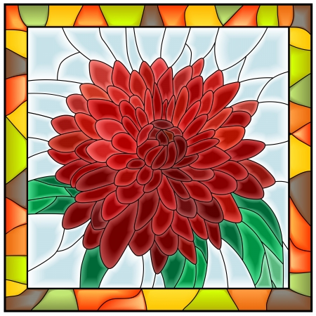 Vector illustration of flower red chrysanthemumin stained-glass window with frame  Vector