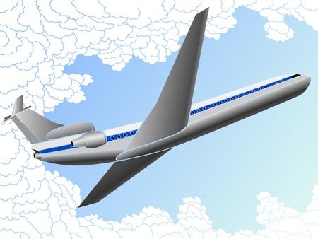the farewell: Ilustración vectorial de la gran avión en las nubes