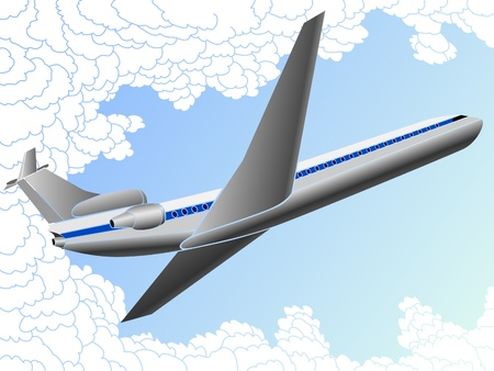 Vector illustration of big plane in clouds  Vector
