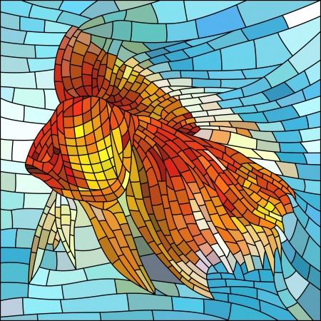 vetrate artistiche: Illustrazione vettoriale di pesce d'oro in vetrata acqua