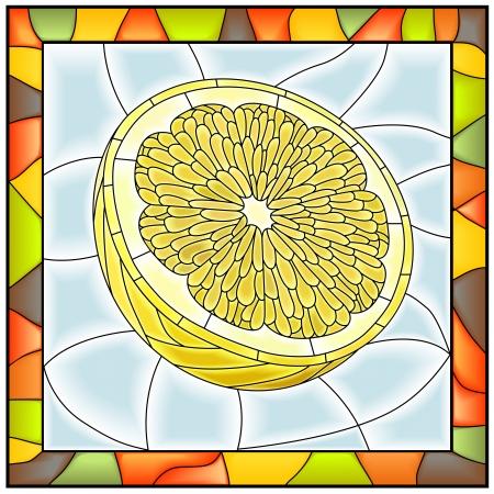 vetrate artistiche: Illustrazione vettoriale di mezzo frutto di colore giallo limone vetrata con telaio