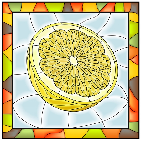 Vector illustration of fruit half of yellow lemon stained glass window with frame  Vector