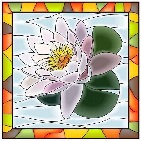 vetrate artistiche: Illustrazione vettoriale di finestra acqua di fiori vetro bianco giglio macchiato con telaio Vettoriali