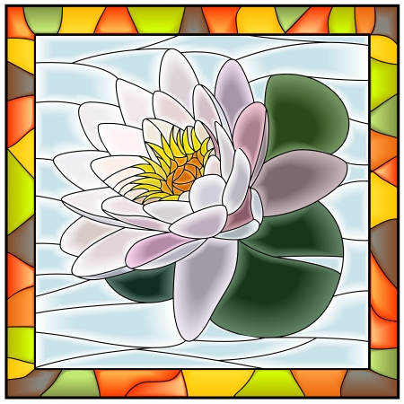 water stained: Vector illustration of flower white water lily stained glass window with frame