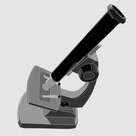 eyepiece: Vector illustration of home microscope in grey tone