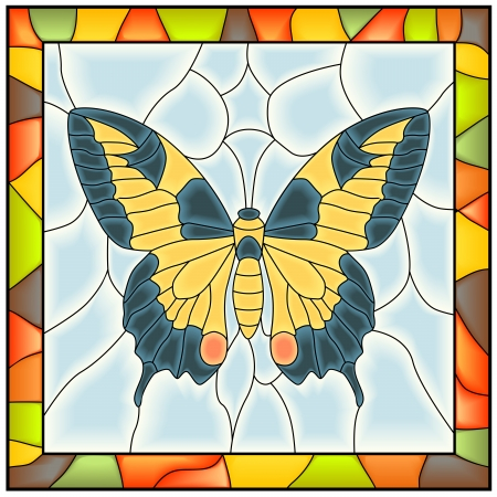 Vector of butterfly  yellow blue wing  in stained-glass window with frame  Stock Vector - 16083258