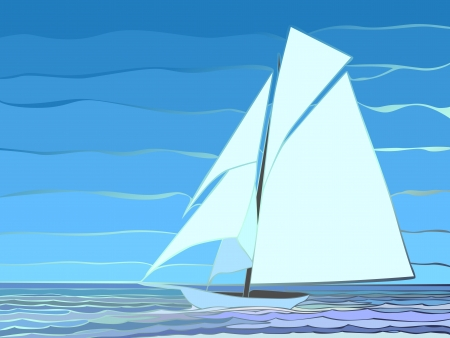 moor: Vector illustration of cartoon sailing yacht in blue tone