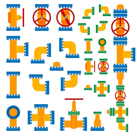 Set of simple vector illustration pipeline elements in cartoon style Stock Vector - 16083252