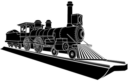 Vector black and white illustration of old steam train