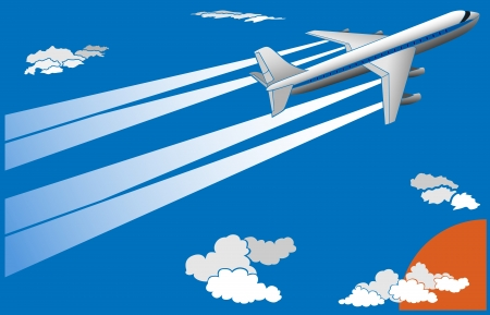 depart: Vector illustration of cartoon big airplane with trace in sky, for postcard