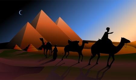 Bedouin caravan camels against over pyramids in twilight