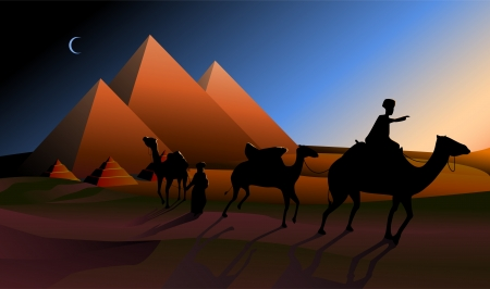 cleopatra: Bedouin caravan camels against over pyramids in twilight
