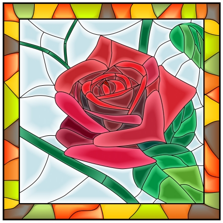 glass window: Vector illustration of flower red rose in stained-glass window with frame