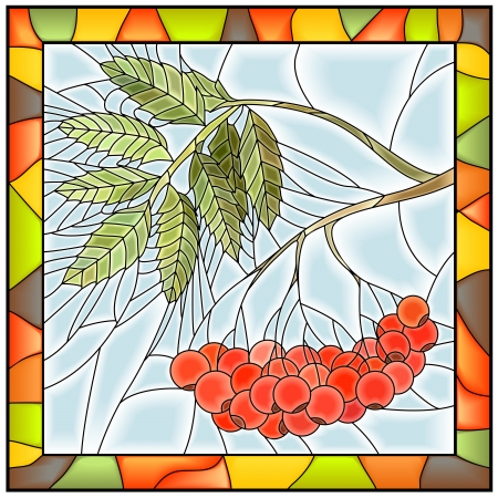Vector illustration of rowan branch with berries stained glass window with frame