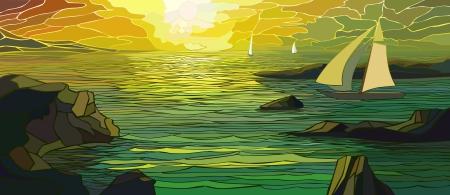 vetrate colorate: Illustrazione vettoriale di barca a vela del fumetto in vetrate tramonto
