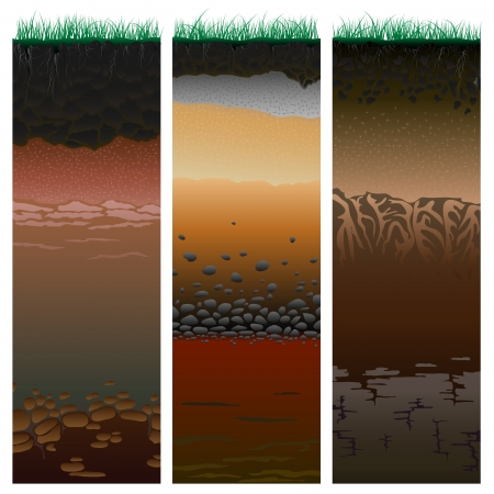 geology: Three columns with cut of soil  profile  with a grass, roots,layers of the earth, clay and stones  Vector illustration