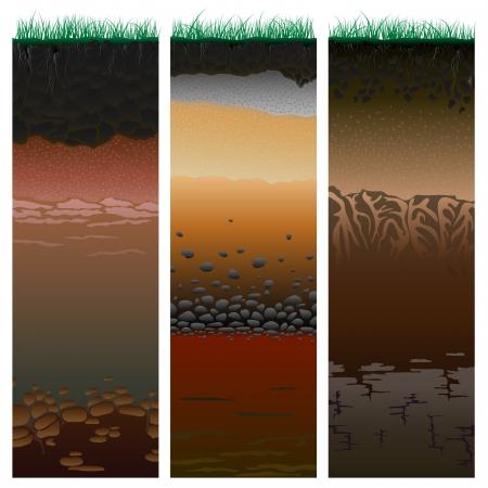 suelo arenoso: Tres columnas con el corte del perfil del suelo con una hierba, raíces, las capas de la tierra, arcilla y piedras ilustración vectorial Vectores