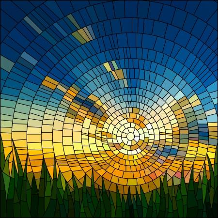 Vector illustration du coucher du soleil dans le ciel bleu dans la fenêtre en verre teinté herbe