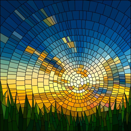 Vector illustration of sunset in blue sky in grass stained glass window