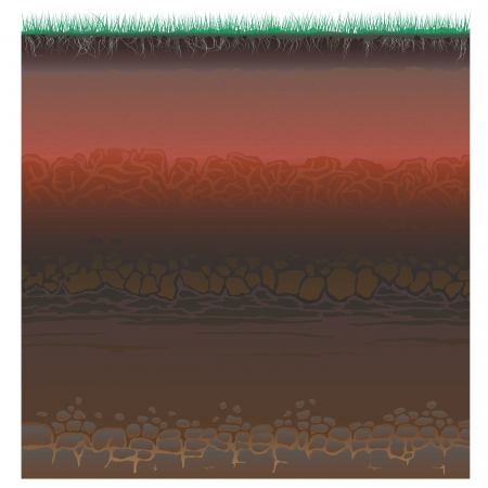 geology: A cut of soil (profile) with a grass, roots,layers of the earth, clay and stones (Vector illustration).