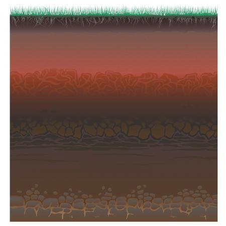 suelo arenoso: Un corte de suelo (perfil) con una hierba, raíces, las capas de la tierra, arcilla y piedras (ilustración vectorial).
