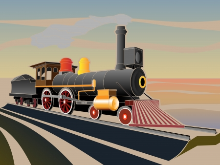 railway engine: Vector cartoon illustration of old steam train on abstract background.