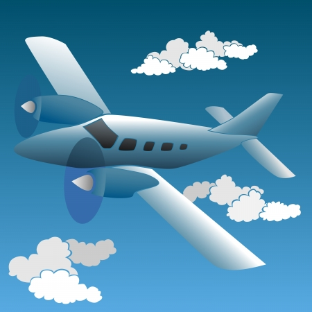 depart: Vector illustration of cartoon small private plane.