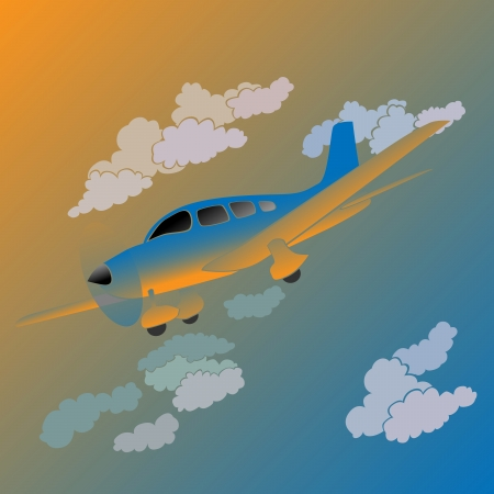 Vector illustration of cartoon small private plane in sunset. Vector