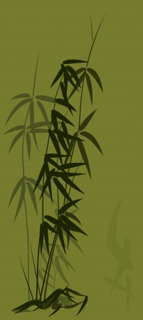 Vector illustration of bamboo in asian style in green tone. Stock Vector - 16169998