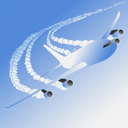 Vector illustration of cartoon big plane with trace. Vector
