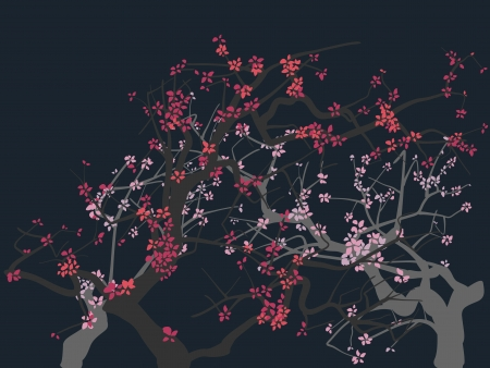 darkly: The abstract drawing of a blossoming tree(Sakura) on darkly background.