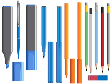 Vector illustration of set of different pencil ( and felt-tip pen). Vector