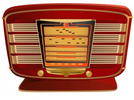 obsolete: Vector illustration of red retro radio.