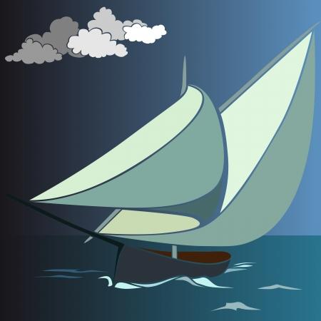 moor: Vector illustration of cartoon sailing yacht.