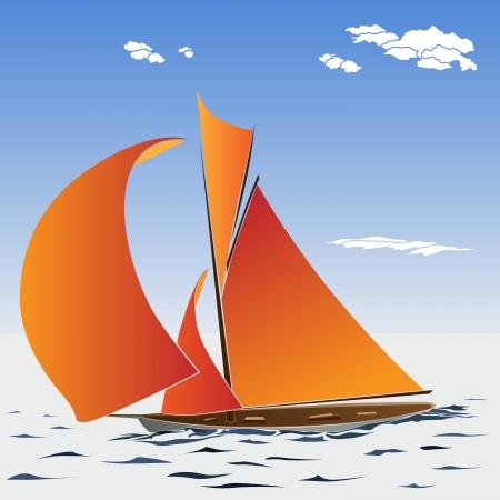 keel: Vector illustration of cartoon sailing yacht.