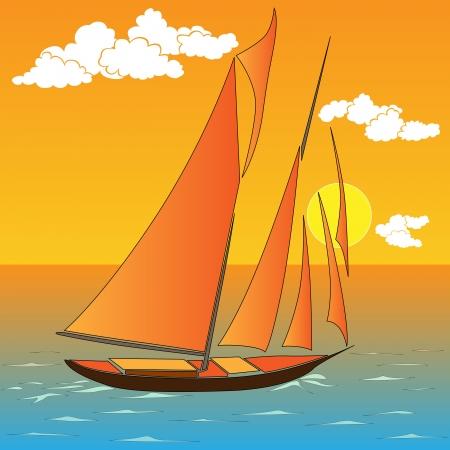 keel: Vector illustration of cartoon sailing yacht in sunset.