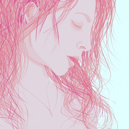 Vector background illustration abstract womans face in profile with eyes closed and long wet hair in pale red. Vector