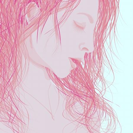 geschlossene augen: Vector Hintergrund Illustration abstrakte Frau das Gesicht im Profil mit geschlossenen Augen und langen nassen Haare in hellrot.