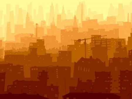 landscape architecture: Vector abstract background of big city with roofs, windows and skyscrapers in sunset. Illustration