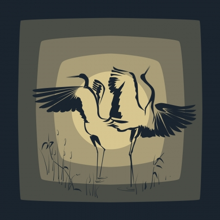 Dancing Crane(Symbol of prosper) against the Moon. Stock Vector - 16170022