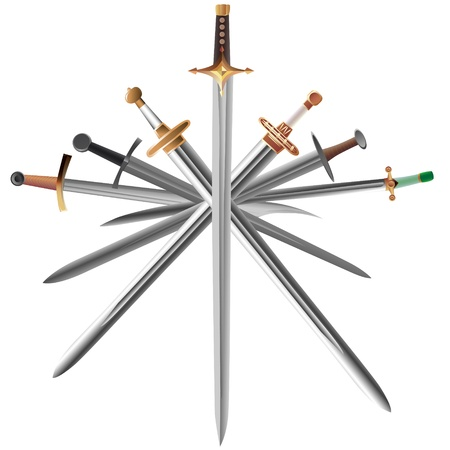 iron cross: Vector illustrations set of swords cross crosswise.