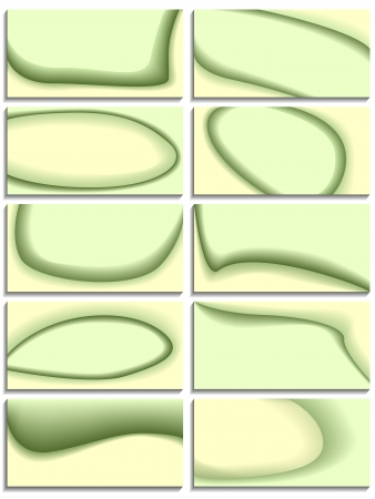Set of business cards with abstract green waves. Stock Vector - 16170031